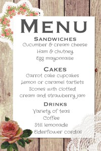 Hen party menu